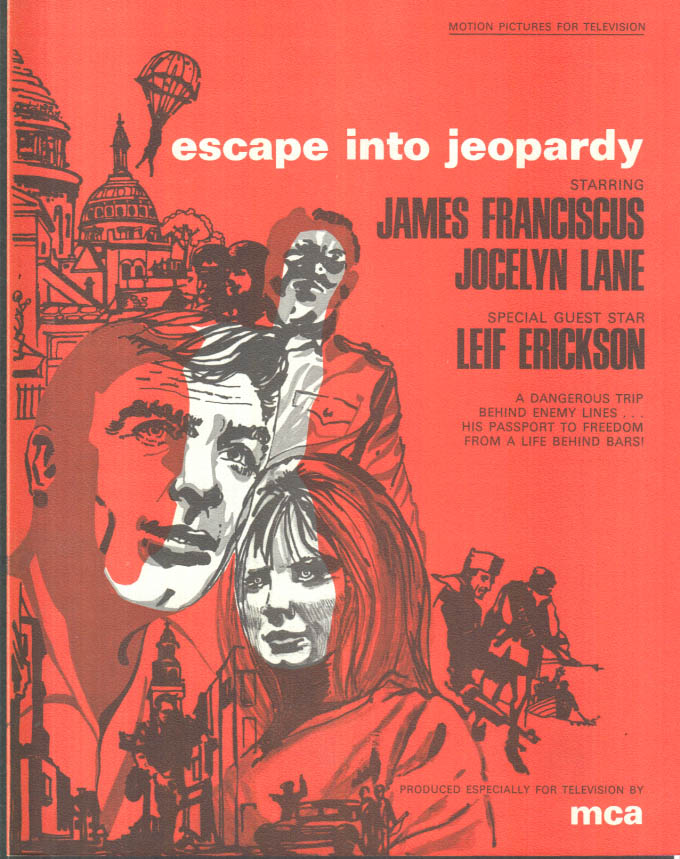 Image for MCA TV MOVIE promo sheet 1960s James Franciscus in ESCAPE INTO JEOPARDY