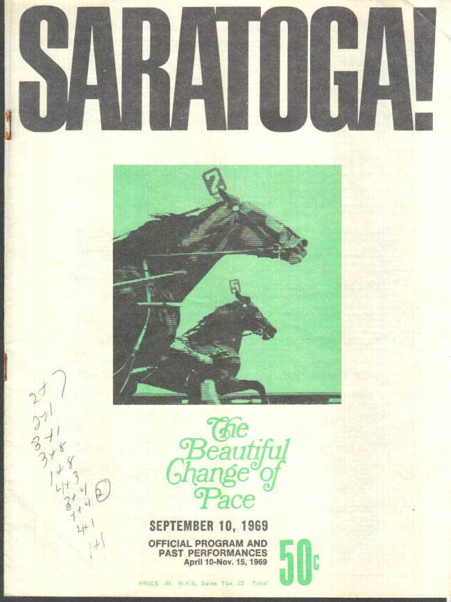 Image for SARATOGA Harness Racing Program 9/10 1969