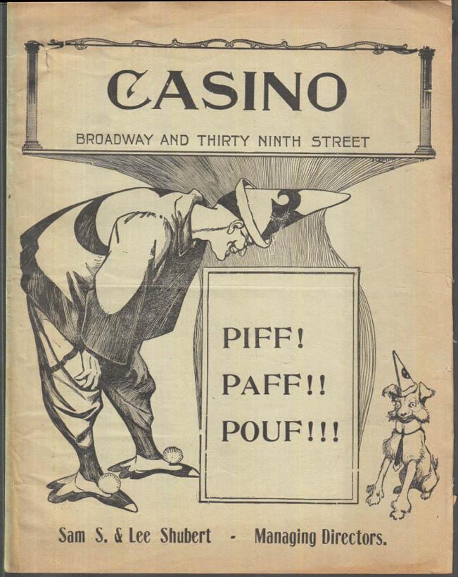 Casino Theatre New York City program 7/11 1904 Piff! Paff!! PouF!!!