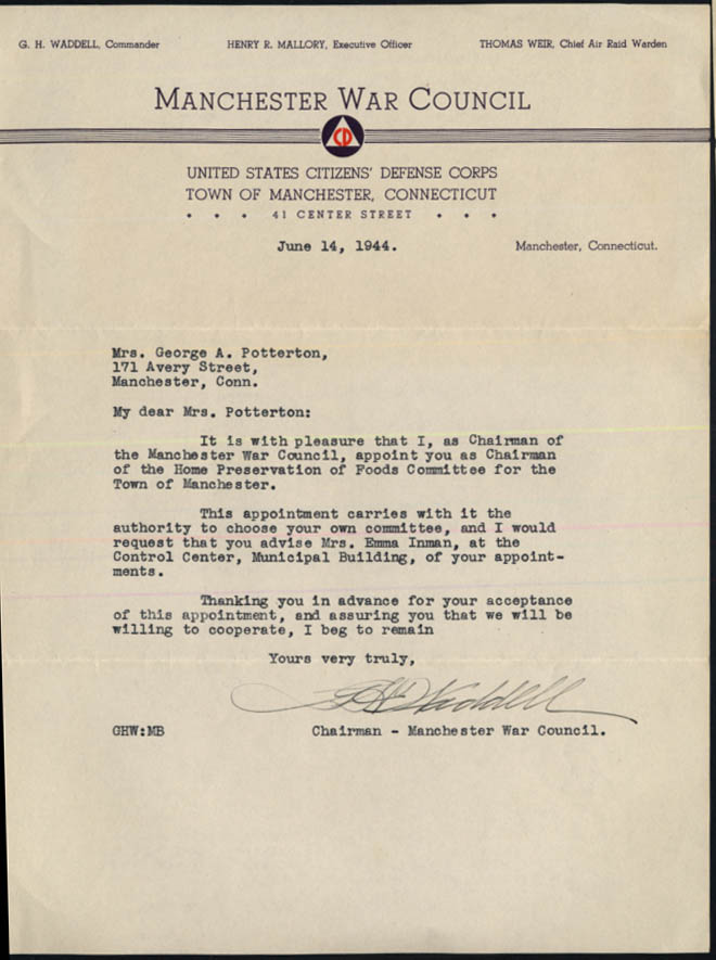 Image for US Citizens Defense Corps CD Manchester CT War Council appointment letter 1944