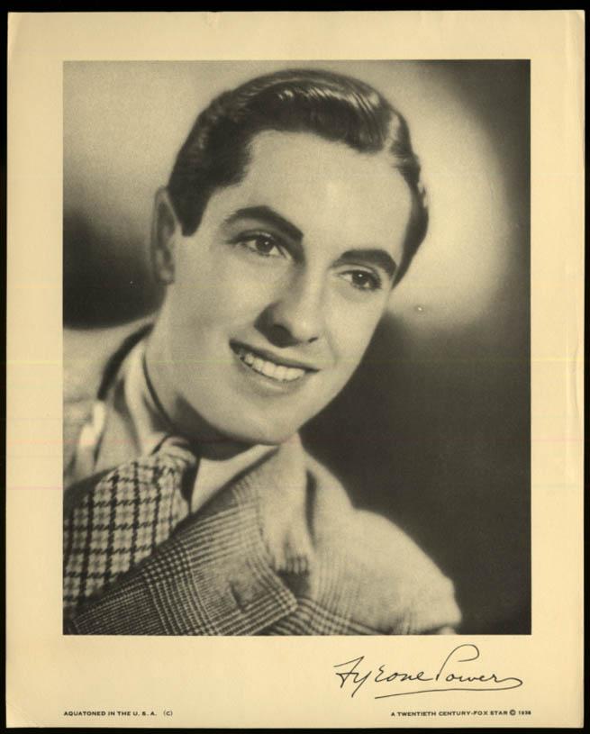 Actor Tyrone Power Aquatone print 1938 20th Century-Fox