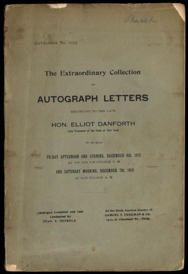 Eliot Danforth Autograph Letters Auction Catalog 1912 Washington Lincoln Grant++