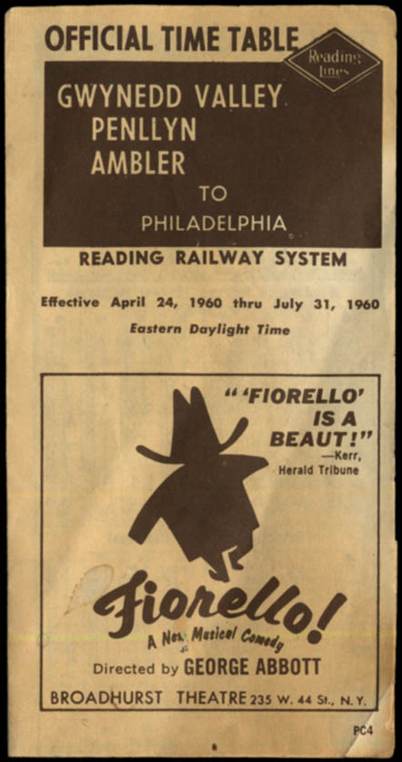 Image for Reading Lines Railroad Timetable Gwynedd Valley Penllyn Ambler-Philadelphia 1960