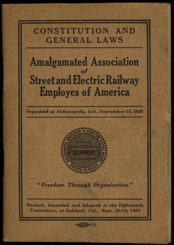 Image for Amalgamated Assn Street & Electric Railway Employes of America Constitution 1923