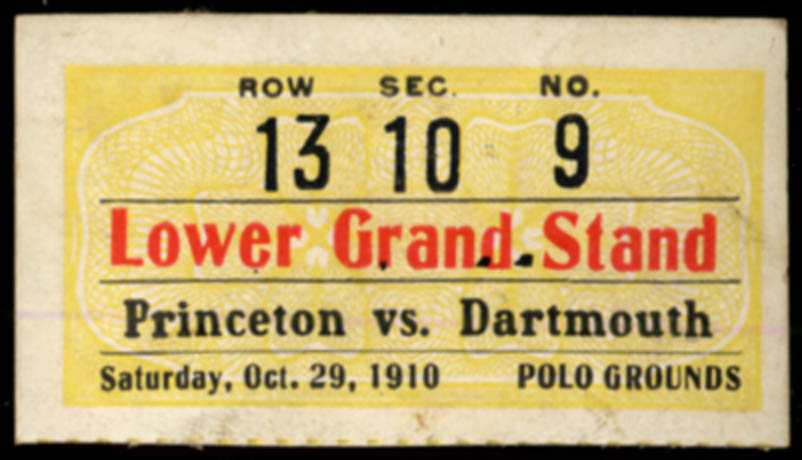 Image for Dartmouth at Princeton ticket stub Polo Grounds NY 1910