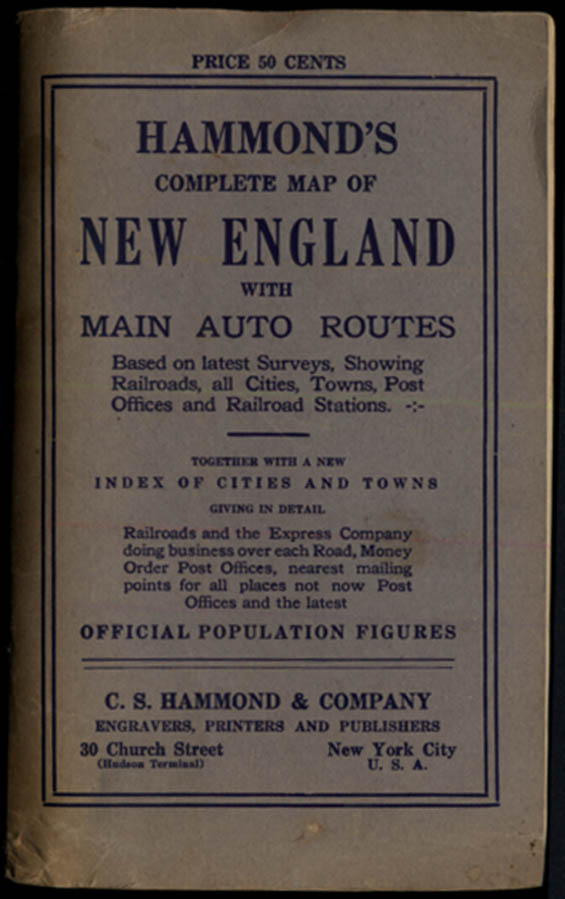 Image for Hammond's New England Map Roads Railroads post offices etc 1915
