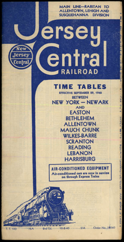 Image for Jersey Central Railroad Timetables NY-Newark 10/2 1940