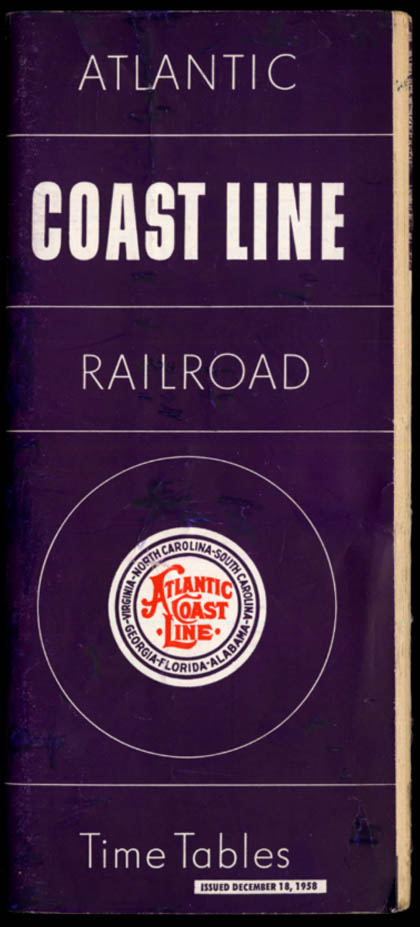Image for Atlantic Coast Line Railroad Timetables 12/18 1958