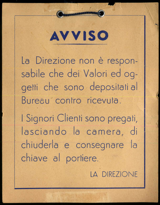 Image for AVVISO Hotel sign Not Resonsible for Items of Value in Italian 1950