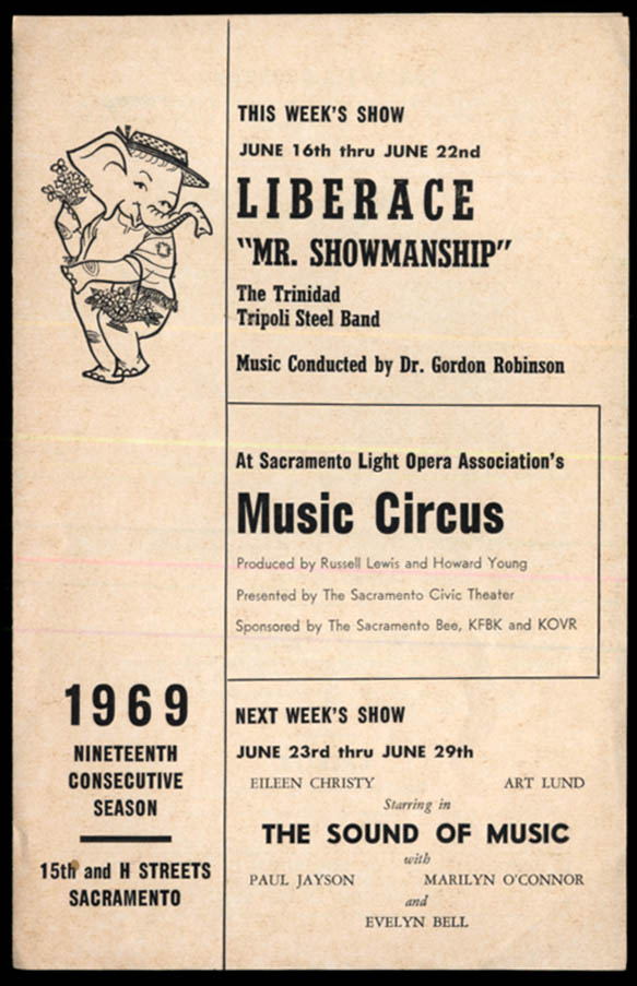 Liberace Mr Showmanship program Sacramento Light Opera Music Circus 1969