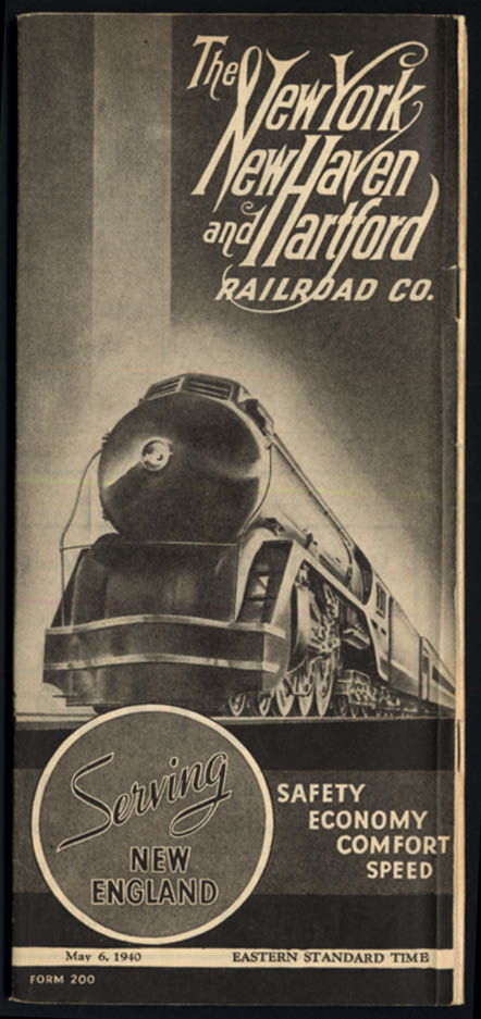 Image for New York New Haven & Hartford RR System Timetable 5/6 1940
