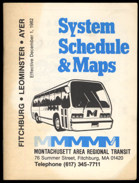 Image for Montachusett Area Regional Transit Schedule 1982 Fitchburg-Leominster-Ayer