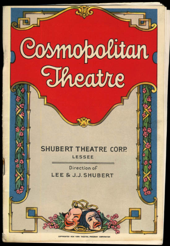 Cosmopolitan Theatre program Balieff's Chaive-Souris Bat Theatre of Moscow 1927
