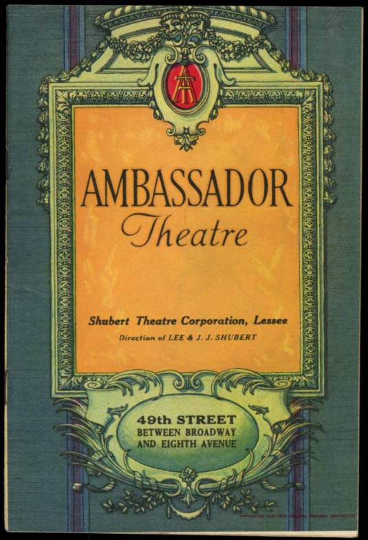 Ambassador Theatre program Bartlett Cormack's The Racket 1927