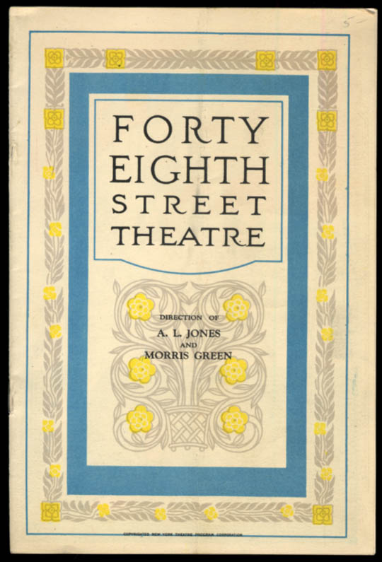 Forty Eighth Street Theatre program The Squall with Blanche Yurka 1927