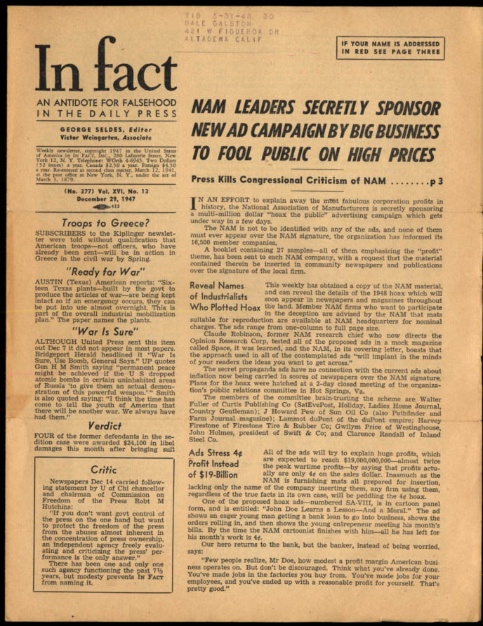 Image for IN FACT Antidote for Falsehood in the Daily Press 12/29 1949 Nat'l Assn Mfrs