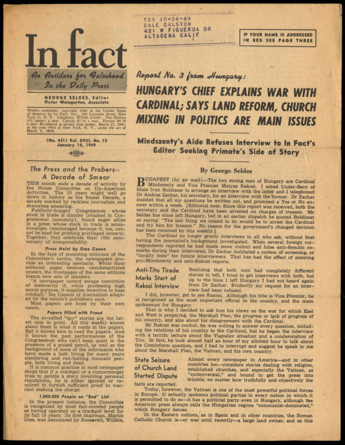Image for IN FACT Antidote for Falsehood in the Daily Press 1/10 1949 Mindszenty v Rakosi