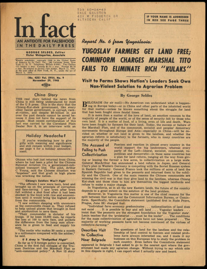 Image for IN FACT Antidote for Falsehood in the Daily Press 11/29 1948 Yugoslav Report #6