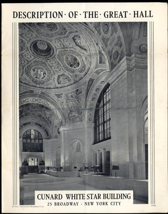 Cunard White Star Steamship Co Great Hall folder New York City 1939