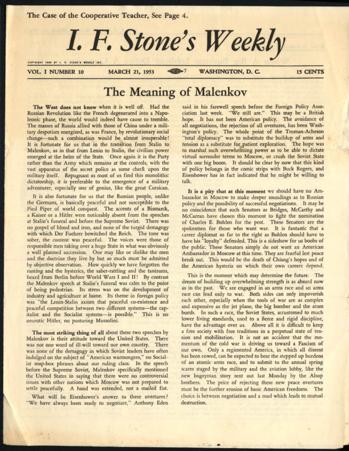 Image for I F STONE'S WEEKLY 3/21 1953 Meaning of Malenkov; USA vs Rumely