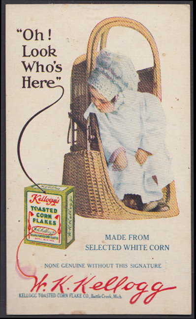 Image for Oh! Look Who's Here Kellogg's Toasted Corn Flakes advertising postcard 1914