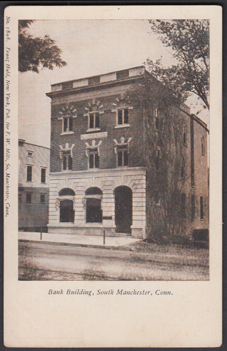 Image for Bowers Block Bank Building South Manchester CT postcard  ca 1905