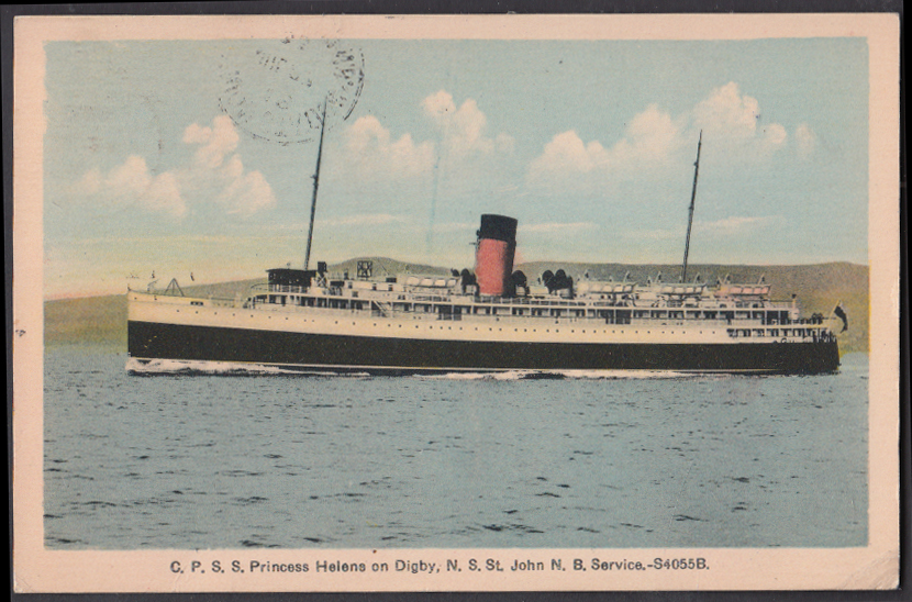 Image for Canadian Pacific S S Princess Helene on Digby-St John service postcard 1933
