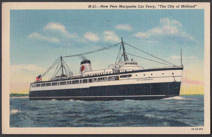 Image for Pere Marquette Car Ferry The City of Midland postcard 1942