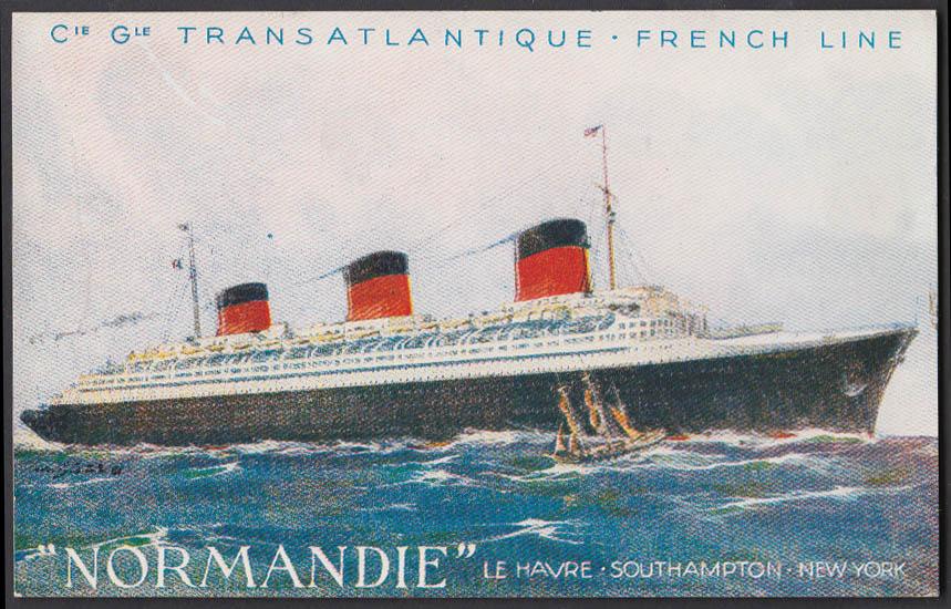 Image for Cie Gle Transatlantique French Line S S Normandie postcard ca 1935
