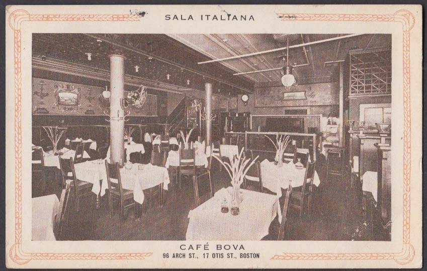 Image for Sala Italiana Caf Bova 96 Arch & 17 Otis St Boston MA postcard 1909