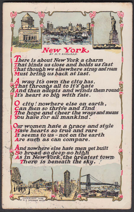 Image for M T Sheahan's poem NEW YORK 6-view postcard 1908