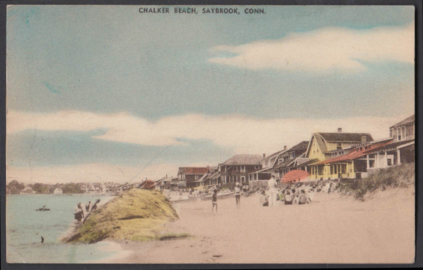 Image for Chalker Beach at Saybrook CT postcard 1937