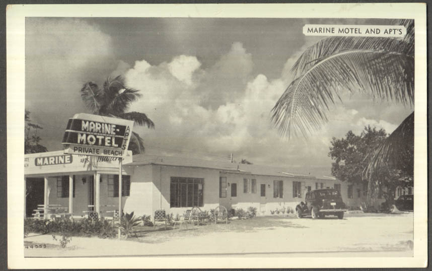 Image for Marine Motel South & Simonton Streets Key West FL postcard ca 1940s