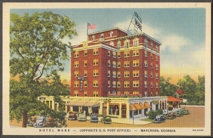 Image for Hotel Ware Opposite US Post Office Waycross GA postcard 1930s