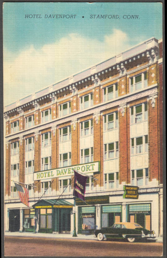Image for Hotel Davenport 84 West Park Place Stamford CT postcard 1949 Cadillac