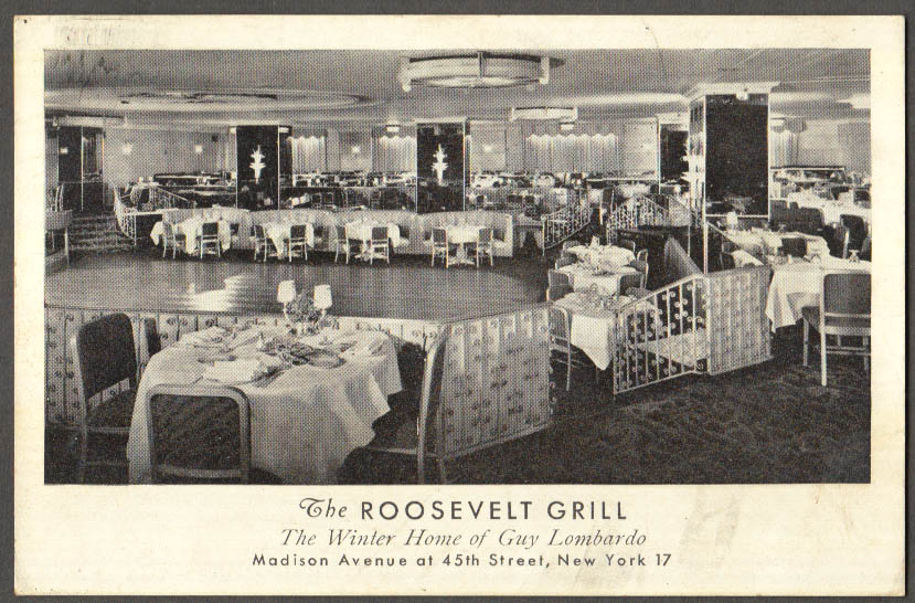 Image for Roosevelt Grill Winter Home of Guy Lombardo New York City postcard 1947