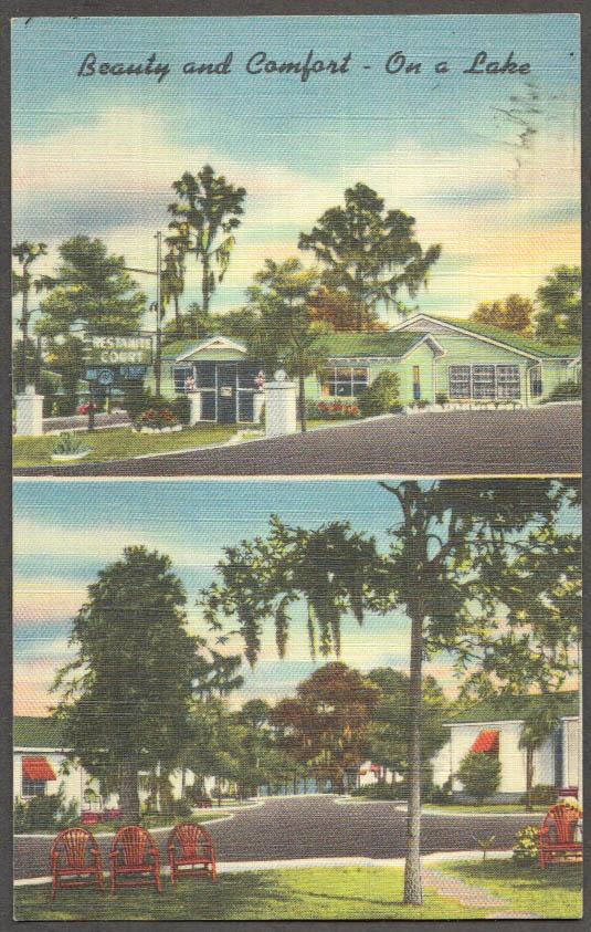 Image for Restanite Motor Court Lake Wales FL 2-view postcard 1940s Mr & Mrs T D Self