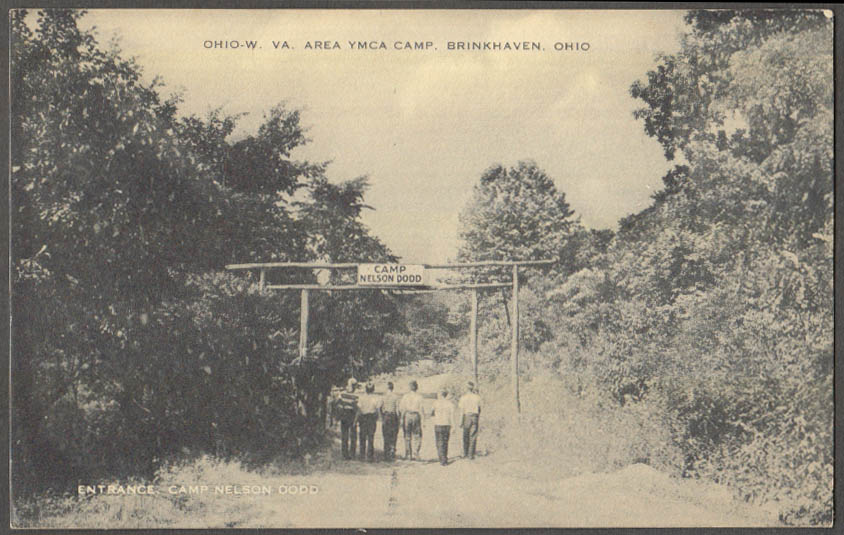 Image for OH-WV-area YMCA Camp Nelson Dodd entrance Brinkhaven OH postcard 1940s