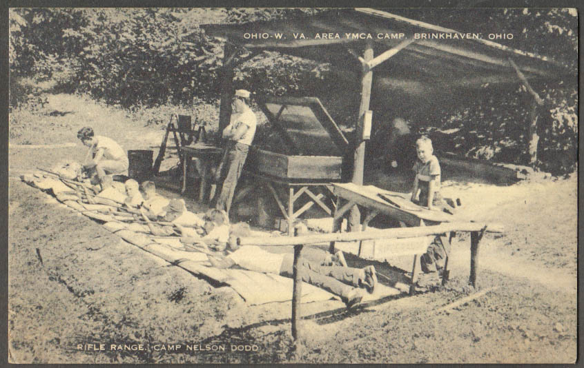 Image for OH-WV-area YMCA Camp Nelson Dodd rifle range Brinkhaven OH postcard 1940s