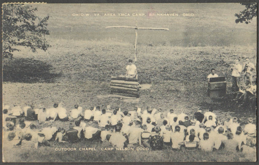 Image for OH-WV-area YMCA Camp Nelson Dodd outdoor chapel Brinkhaven OH postcard 1940s