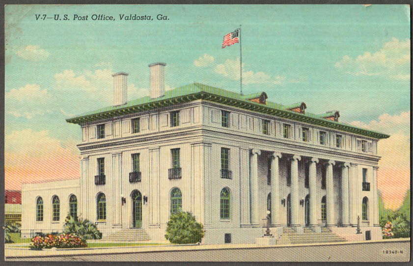 Image for United States Post Office at Valdosta GA postcard ca 1930s