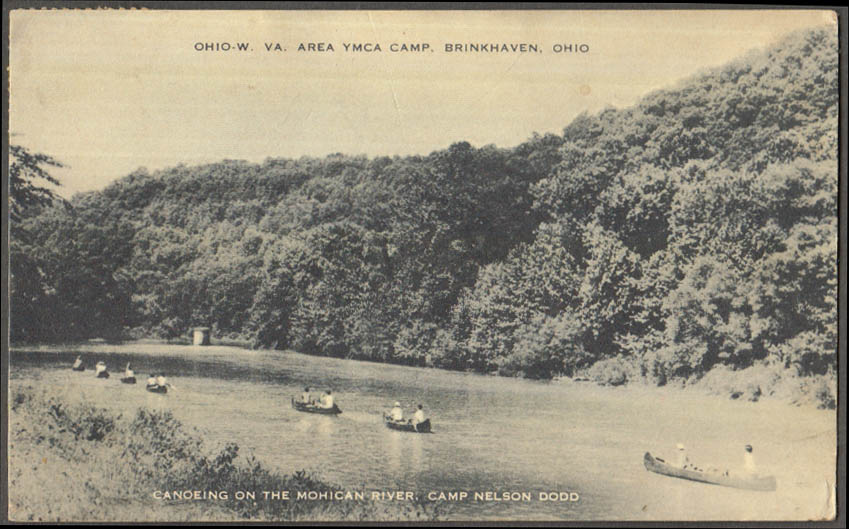 Image for OH-WV-area YMCA Camp Nelson Dodd canoeing Brinkhaven OH postcard 1940s
