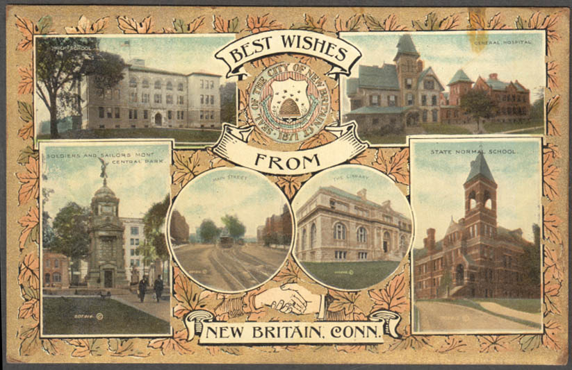 Image for Best Wishes from New Britain CT 6-view postcard 1909