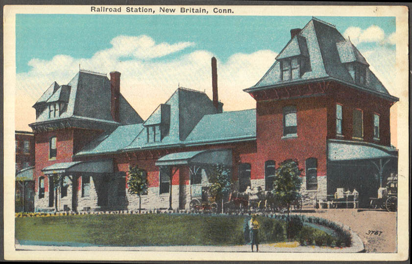 Image for Railroad Station at New Britain CT postcard ca 1915