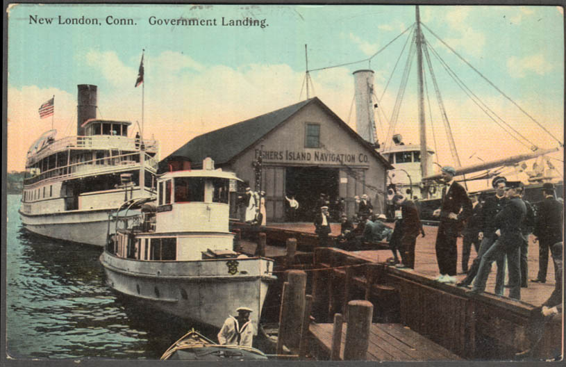 Image for Government Boat Landing at New London CT postcard 1912