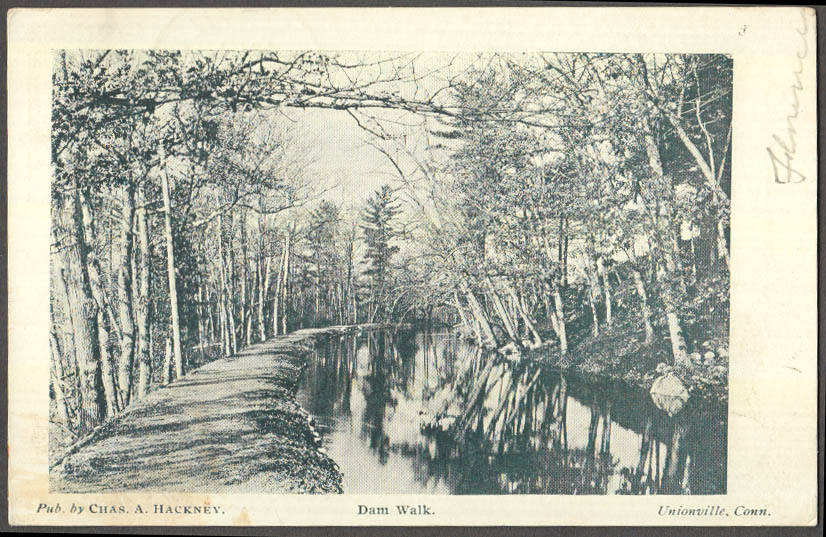 Image for Dam Walk along canal Unionville CT postcard 1908