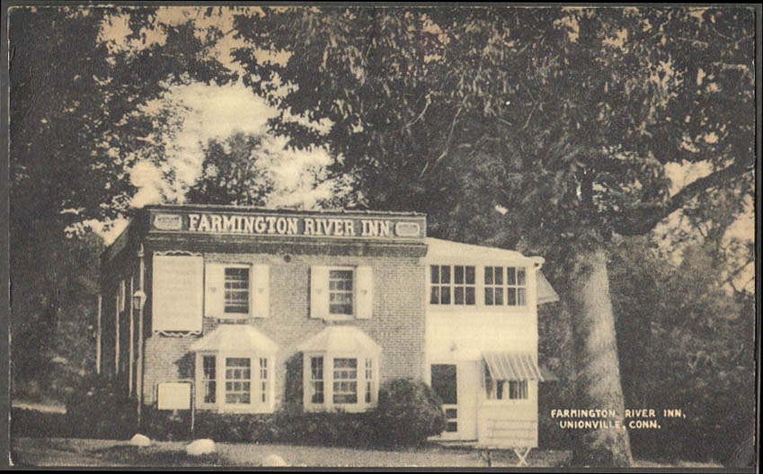 Image for Farmington River Inn Unionville CT postcard 1947
