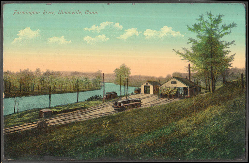 Image for Railroad siding along Farmington River Unionville CT postcard 1908