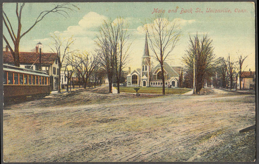 Image for Intersction of Main & Back Streets Unionville CT postcard 1909