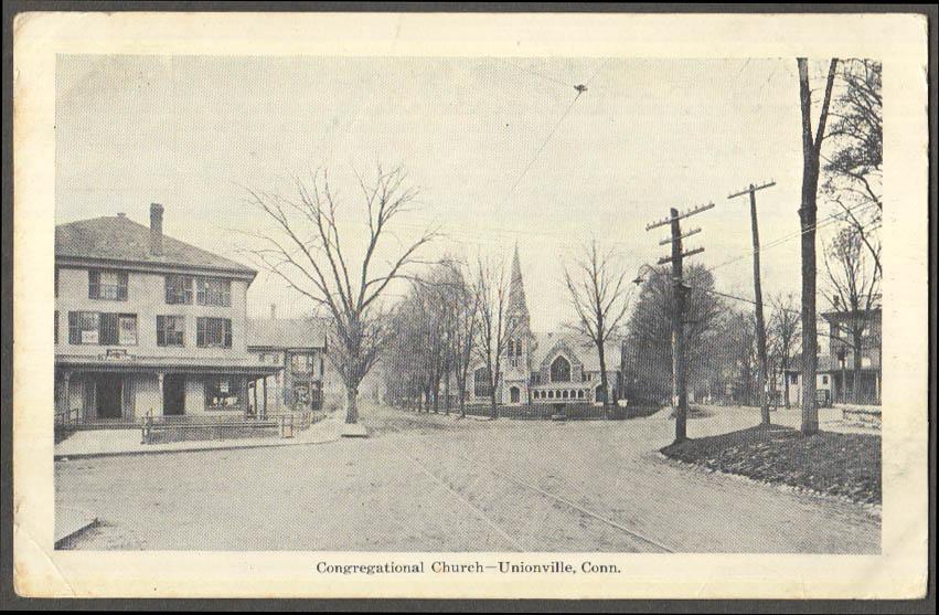 Image for Congregational Church & Tailor Shop Unionville CT postcard ca 1910